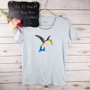 J. Crew Collector Tee blue bird sequin cotton top